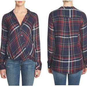 1 state long sleeve plaid twist front top